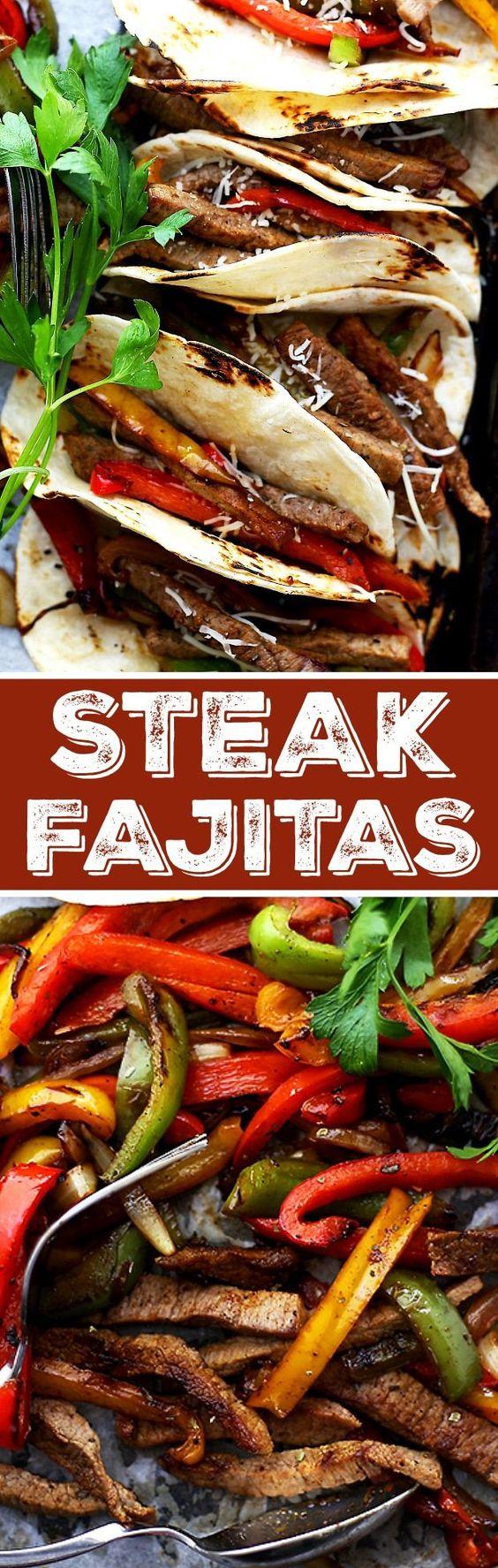 Steak Fajitas | www.diethood.com | Perfectly seasoned, classic steak fajitas with onions and peppers, wrapped in warm flour tortillas.