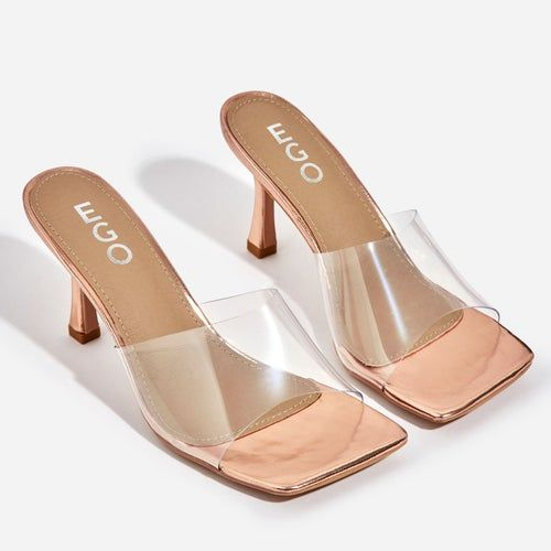 Hilton Square Peep Toe Perspex Kitten Heel Mule In Rose Gold Patent Heeled Mules Ego Shoes Shoe Boots