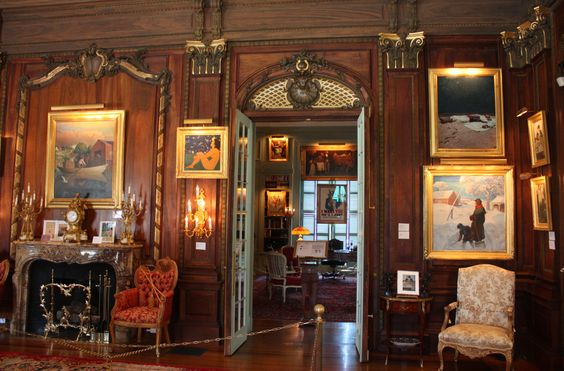 Interior of The National Museum of American Illustrators. Pictured: The Grand Salon.  ~ Originally a Newport, RI Gilded Age era mansion, Vernon Court. Built in c.1898, by the Architectural firm of: Carrere and Hastings. ~~ {cwl} ~~ (Nat'l Museum of American Illustration):