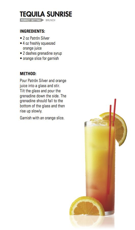 Tequila sunrise patr n tequila dreaming of summer for Tequila mixed drink recipes