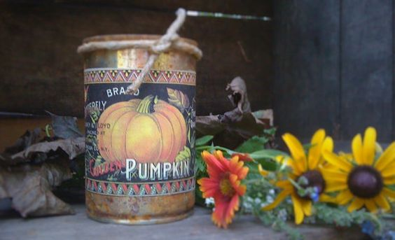 Primitive  Can Candle  Scented  Pumpkin by DebsCandlesandDreams