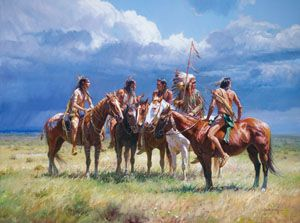 """Waiting on the Wolves by Martin Grelle This image is the story of a chief and his braves waiting patiently astride their horses on the open plains. They know that """"Waiting on the Wolves"""" will offer a good hunt for food and sustenance for their tribe."""