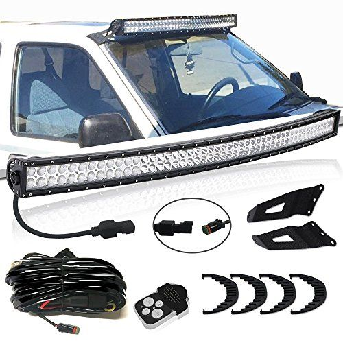 Turbosii Dot 50 In Curved Offroad Led Light Bar W Upper Roof Windshield Mounting Brackets Remote Switch Wiring Kit For Sierra 1500 Led Light Bars Bar Lighting