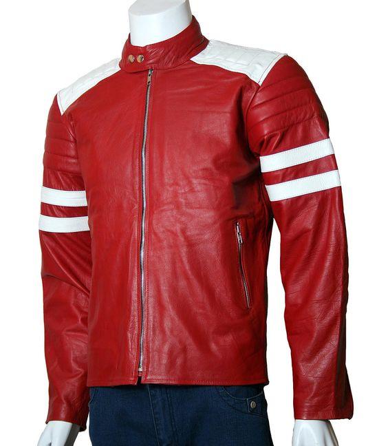 Red Biker Fight Club Leather Jacket