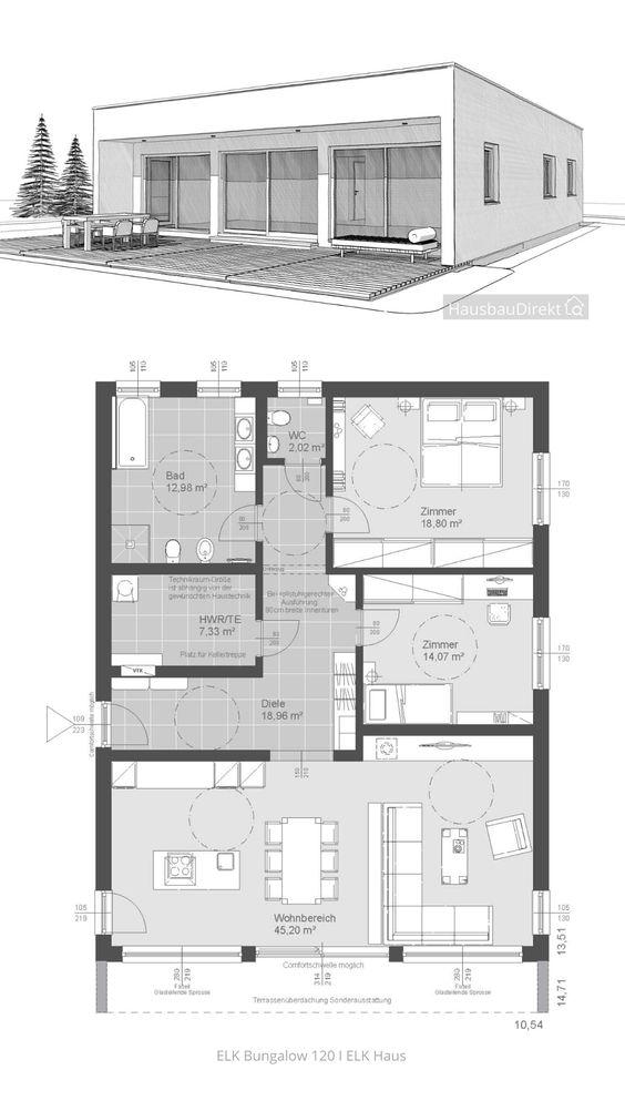 Bungalow Haus Design Modern Mit Flachdach Im Bauhausstil Bauen Haus Grundriss 120 Qm 3 Zimmer In 2020 Bungalow Haus Design Bungalow Bauhausstil