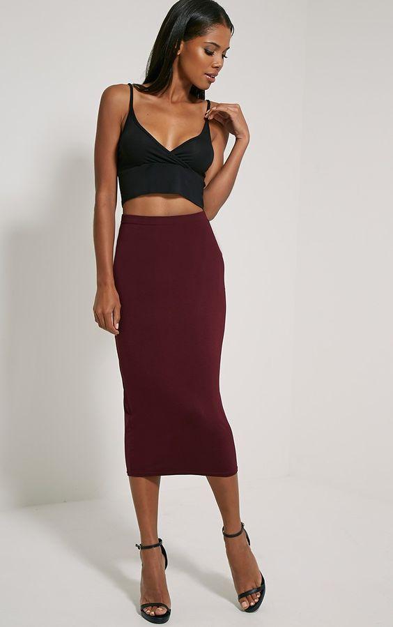 Skirts, Midi skirts and Burgundy on Pinterest