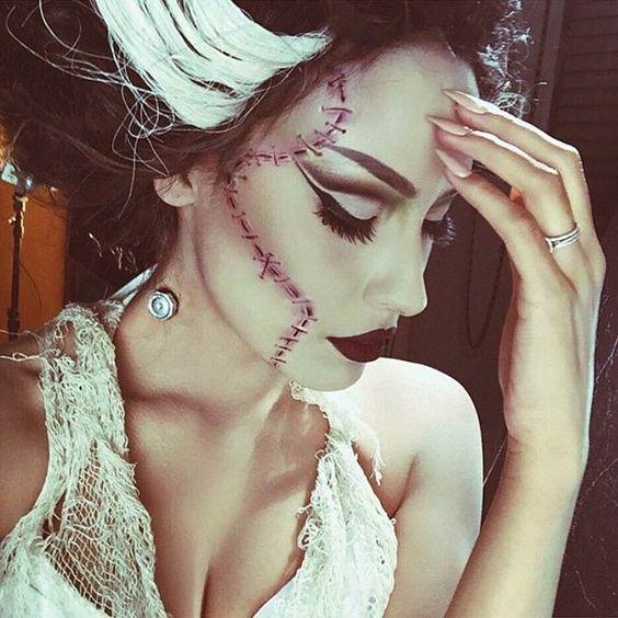Bride of Frankenstein Halloween Makeup Look