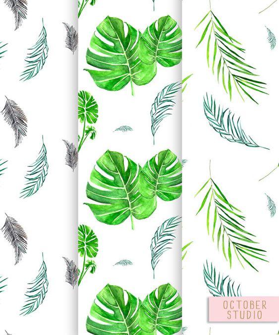 Tropische Blätter Cliparts & nahtlose Muster von OctoberStudio