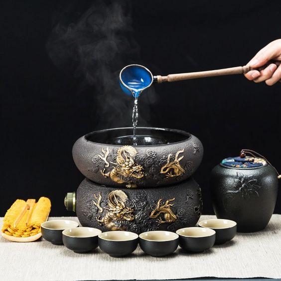 Golden Dragon Cast Iron Tea Maker With Caddy