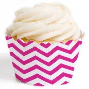 Fuchsia Chevron Cupcake Wrappers