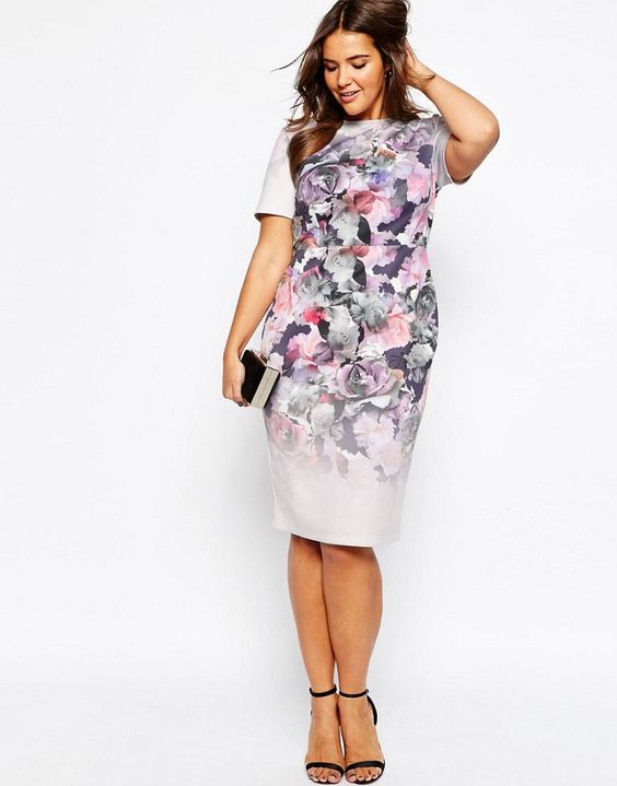 ASOS Curve | ASOS CURVE Body-Conscious Midi Dress In Placed Ombre Floral Print at ASOS