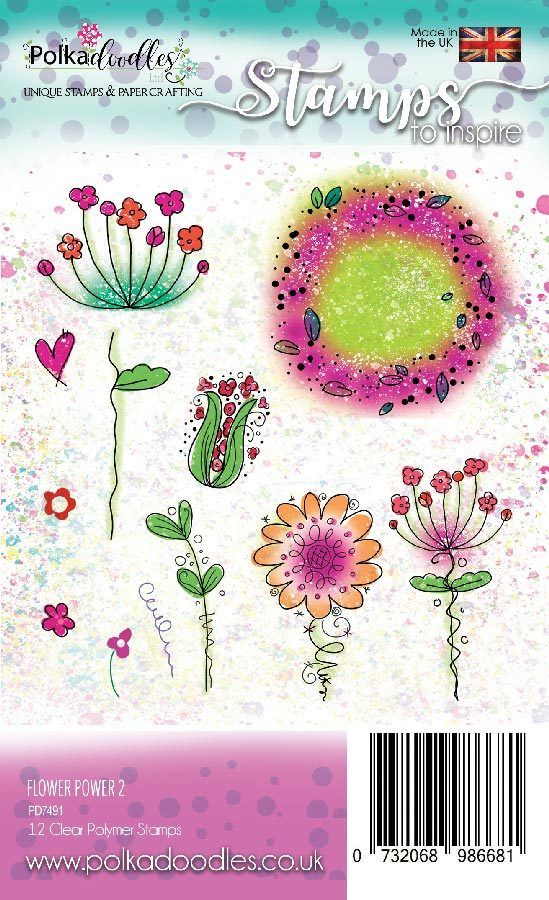 10 Stamps NEW Flower Power Clear Stamp Set