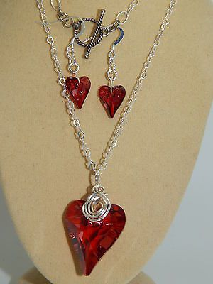 Genuine Swarovski Hearts on Solid 925 Sterling Hearts chain & 925 Earrings Set in Jewellery & Watches, Handcrafted Jewellery, Sets | eBay