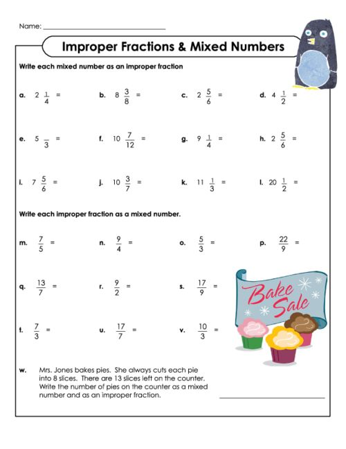 Improper Fractions and Mixed Numbers – Mixed Numbers to Improper Fractions Worksheet with Pictures