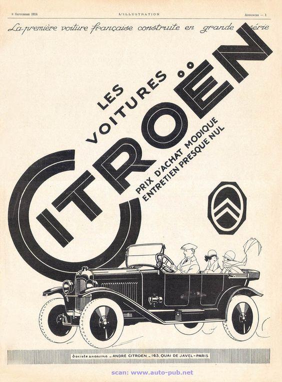 1924 : Publicité Citroën : prix d'achat modique et entretien presque nul