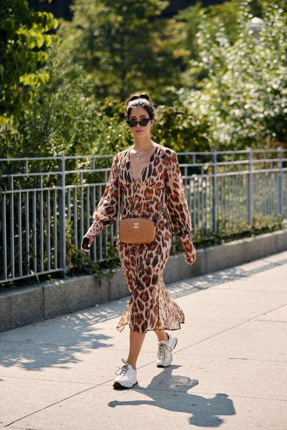 On the street at #NYFW. #animalprint #streetstyle