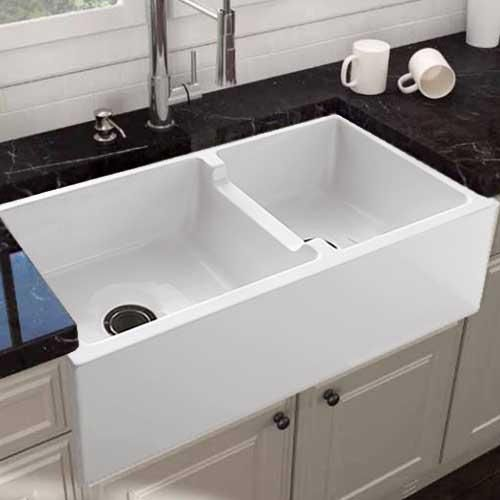36 Bari Fireclay 60 40 Offset Double Bowl Farmhouse Sink With