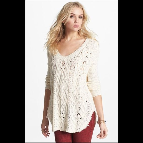 Free People Open Knit V-Neck Sweater - Ivory This open-knit sweater has been worn once and is in great condition! This sweater can be worn in various ways: Layer it over a slip or wear with jeans! Free People Sweaters V-Necks
