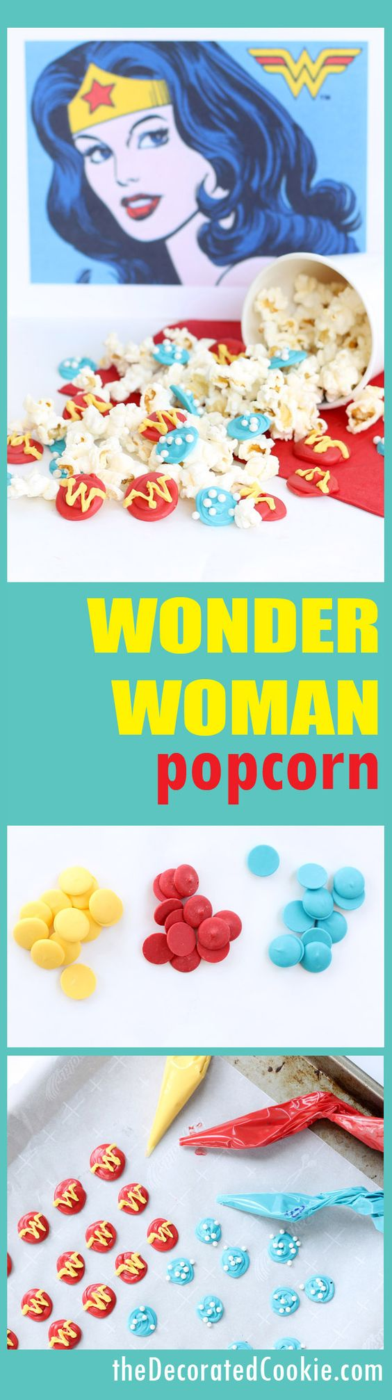 Wonder Woman popcorn -- Superhero party food ideas