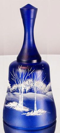 Fenton Hand Painted Moonlight Wonder on Cobalt Blue Glass Bell