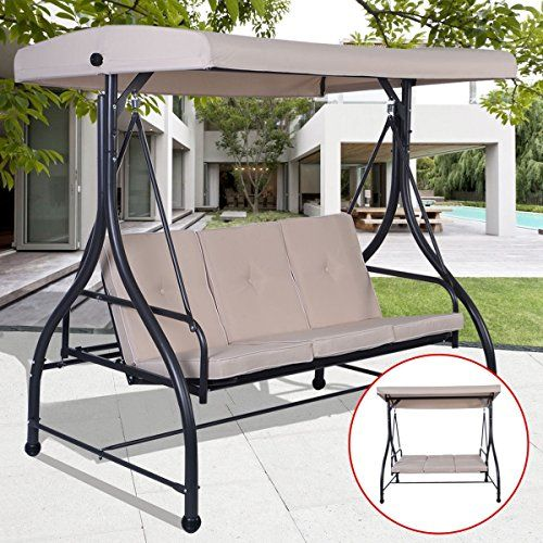 Premium Patio Swing Chair For 3 Person With Canopy And Firm Cushions Perfect Set For Patio Garden Outdoor Porch A Design De Portao De Ferro Design Decoracao