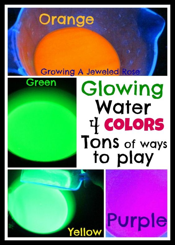 How to make four colors of glowing water- TONS of ways to play included in the post!