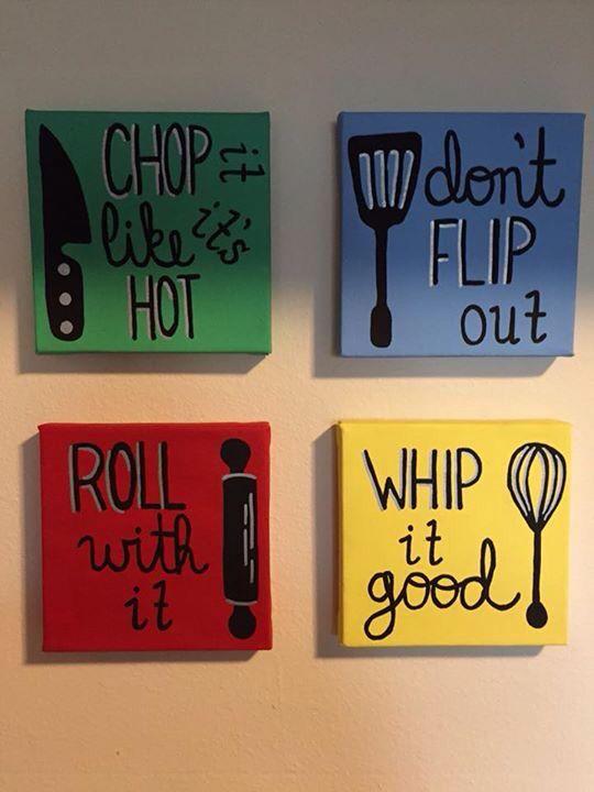 Kitchen Art Canvas Set Utensils Painting Pinterest