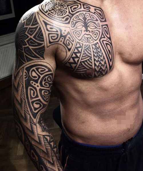 101 Best Sleeve Tattoos For Men Cool Designs Ideas 2019 Guide Tribal Tattoos For Men Aztec Tribal Tattoos Cool Tribal Tattoos
