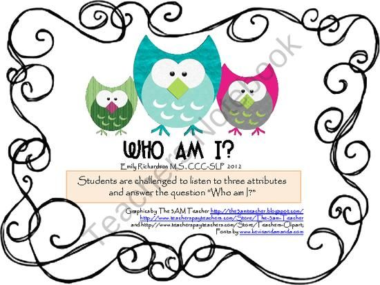 WHO AM I?  A guessing game with WHO questions product from TheSpeechPath on TeachersNotebook.com