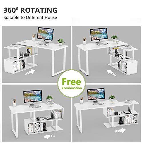 Tribesigns Modern L Shaped Desk 55 Rotating Desk Corner Computer