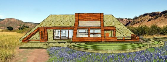 """A composite rendering of my """"stone wing"""" underground home concept in the texas hill country"""