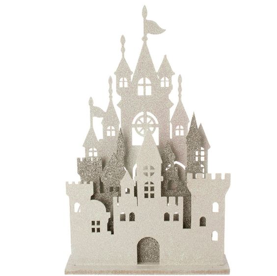"Lighted Castle - white/silver 16.5"" RAZ Imports"