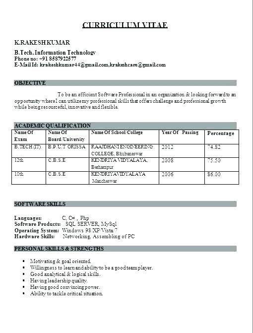 Fresher Resume Format Resume Format For Freshers Best Resume