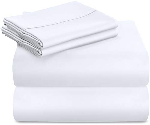 Utopia Bedding Premium 100 Cotton Bed Sheet Set 300 Thread Count 4 Piece Bedding Set 1 Flat Sheet 1 Fitted Sheet And 2 Pillow Cases White Full Good