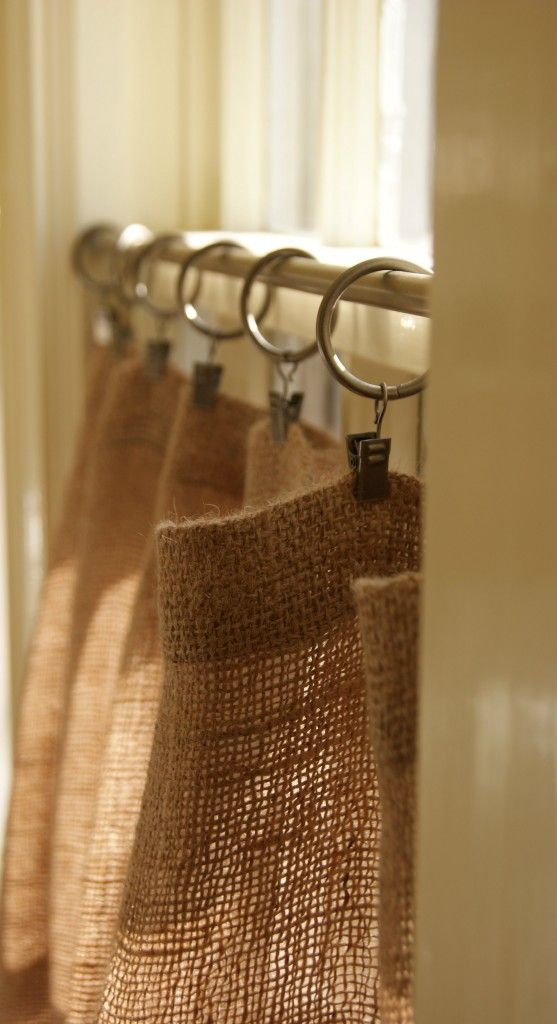 Hessian / Burlap Cafe Curtains. Or shower curtain with ruffle bottom?: