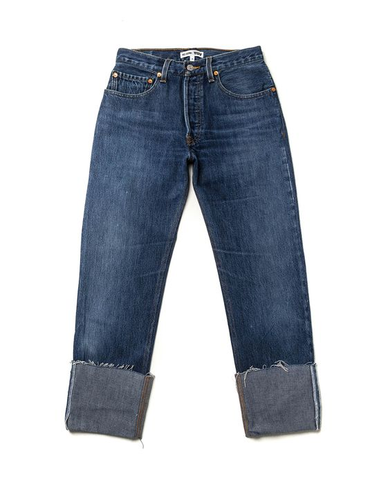 The RE/DONE Cuffed Jean features a high-rise shape with a straight leg. The inseam finishes with an exaggerated cuff adding a unique twist to this fashion forwa