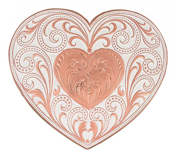 Montana Silversmiths Copper Finish Heart Whispers Buckle | HorseLoverZ