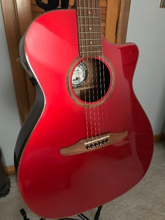 New With Tags Save On Retail Price This Fender Exclusive Cutaway Shaped Acoustic Guitar Boasts A Solid Spruce Top Paire Guitar Hot Rod Red Fender Guitars