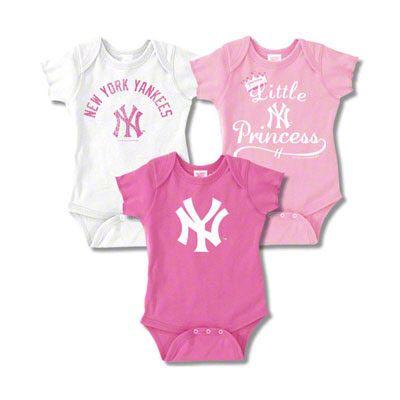 New York Yankees Infant Girls Baby Rib Pink Creeper 3-Pack