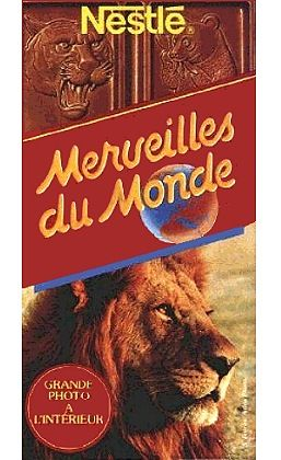 les images du chocolat nestlé. Je veux le zèbre, euh non le lion.