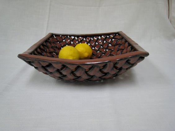 Woven Clay Basket Fruit/ Bread Basket