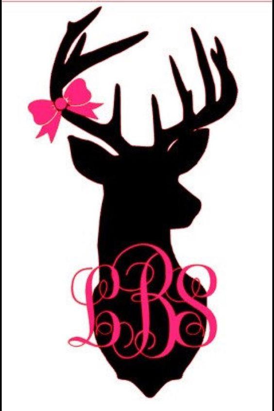 3 by 1 5 monogrammed deer decal by samscraftsandmore on for Deer mural decal