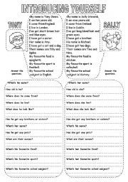 english worksheet introducing yourself introduce yourself pinterest english worksheets. Black Bedroom Furniture Sets. Home Design Ideas