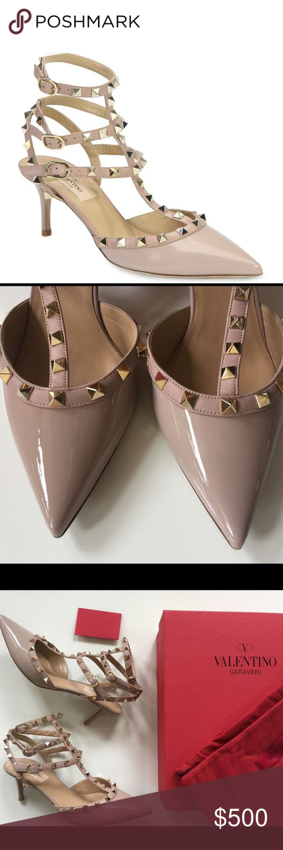 valentino rockstud patent leather pumps valentino rockstud kitten heel pumps color blush poudre patent size 39 they run small like new only wore once - Poudre Color Run