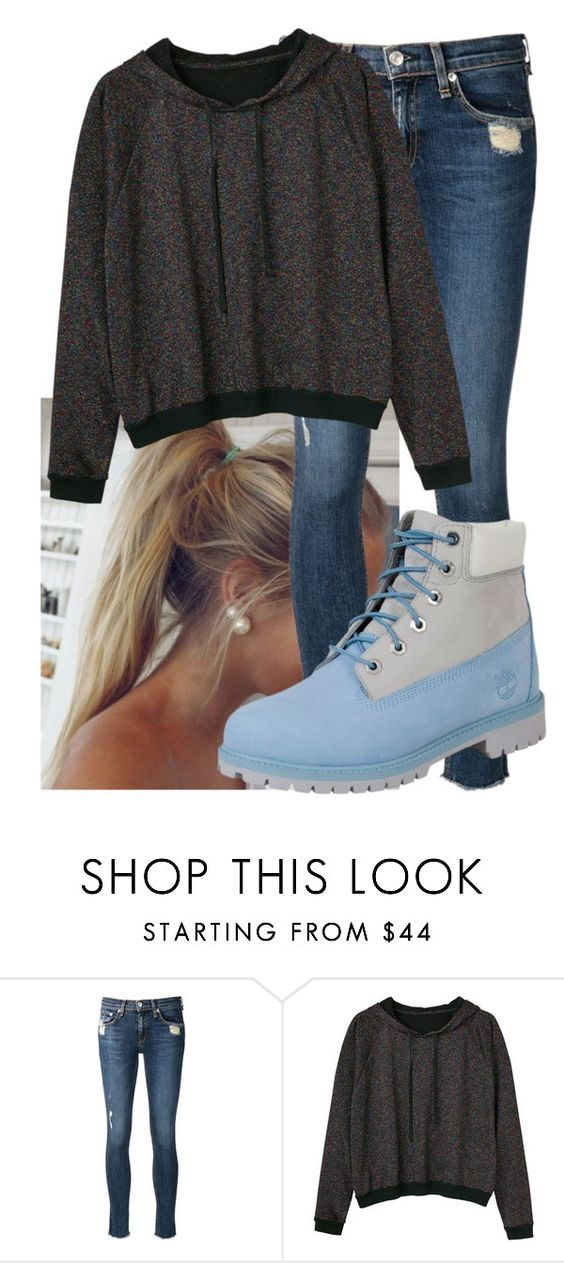 """Untitled #9677"" by imblissedoff ❤ liked on Polyvore featuring rag & bone/JEAN, Monki and Timberland"