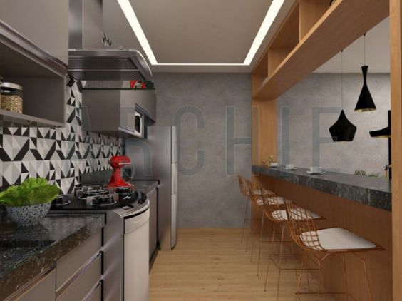 Cozinha Planejada Madeira Cadeiras Cobre Baquinhos Fogao