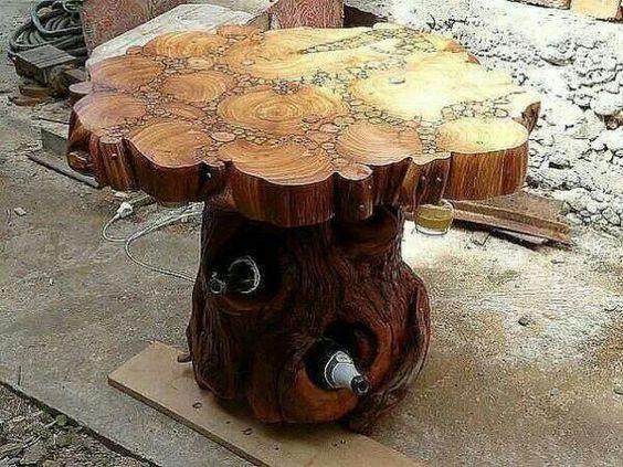 Mesa de tronco muebles con troncos pinterest mesas for Muebles con troncos
