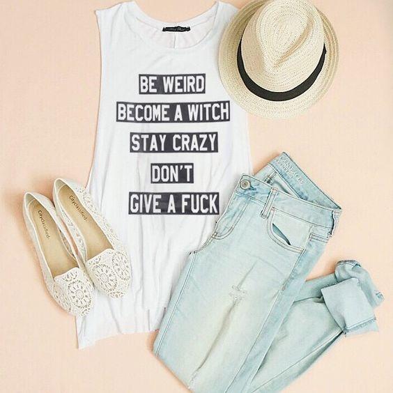 White Sleeveless Letters Print Slim Vest