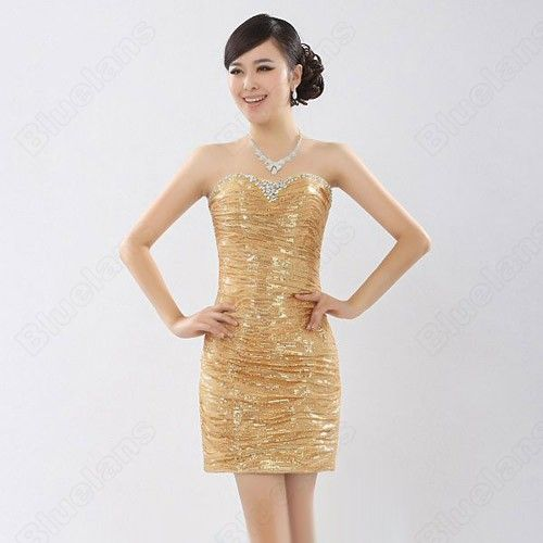 Gold Shinning Slim Sequin Crystal Sweetheart Strapless Short Evening Dress