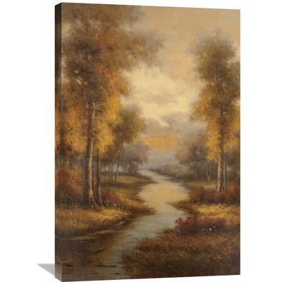 Global Gallery 'Fall Creek' by Pierre Painting Print on Wrapped Canvas Size: